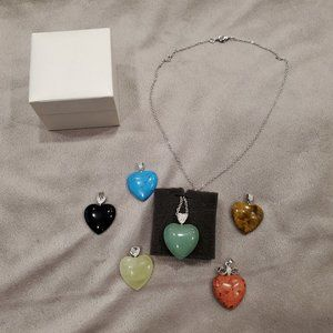 Pandora Stone Heart Pendants with Silver Chain